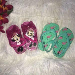 Bundle Girls Minnie & Flamingo Sandals 5/6